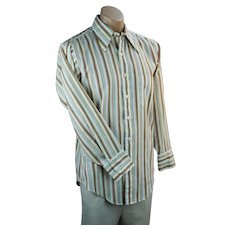 70s Striped Mans Long Sleeve Shirt, Kent Collection by Arrow, Size 15