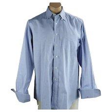 Man's Blue Cotton Pinpoint Snap Tab Collar French Cuff Dress Shirt, Sz 16