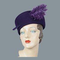 60s Wool Amethyst Pillbox Hat w/ Ostrich Feather