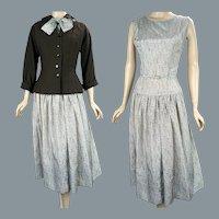 50s Sleeveless Drop Waist Dress w/ Matching Jacket by Polly Tall