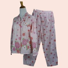 50s NWT Pink Floral Cotton Pajamas by Schrank Sz 16, 36