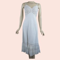 50s White Crystal Pleated and Lace Slip by Shadowline, Size 34