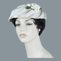 50s Ivory Fabric Mushroom Brim Hat w/ White Rose