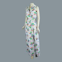 70s Full Length Cotton Floral Sleeveless Wrap Robe by Fifth Avenue