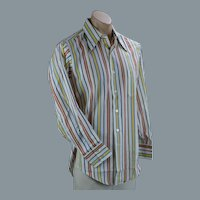 70s Mans Multi-Colored Long Sleeve Striped Shirt by Hampshire House, Sz 15
