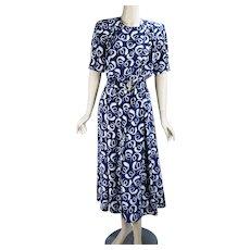 80s Blue and White Midi Shirt Dress by Liz, Sz 10