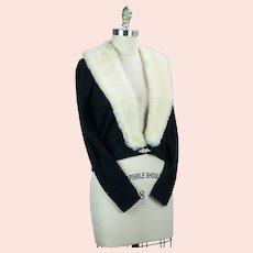 50s Black Orlon Cardigan with Ivory Faux Fur Collar and Rhinestone Clasp
