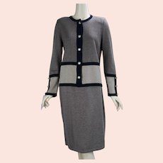 90s Brown and Black Tweed Knit Suit, Skirt and Sweater Set, Sz 8