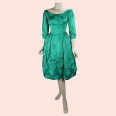 50s Green Damask Full Skirt Party Dress