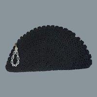 50s Black Fan Shaped Crochet Clutch Bag