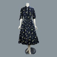 1950's Novelty Print Full Skirt Cotton Dress by Marsha Young