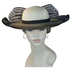 Ivory and Black Straw Wide Brim Church Hat by David M, Sz 22