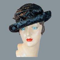 60s Black Wide Weave Raffia Straw Breton Hat by Dolly Madison