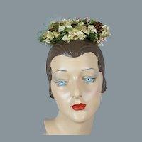 60s Beige and Bronze Silk Sequin Toy Pillbox Hat by Sally Victor