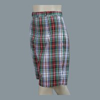 50s Red, Green and White Plaid Bermuda Shorts, W26