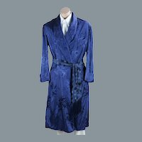 Vintage Mans Navy Blue Rayon Wrap Robe by Brent, C44