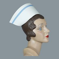 50s Nurse Cap with Blue Stripe and Case
