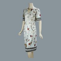 70s Floral Border Print Summer Dress by Hal Ferman, B38