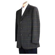 90s Brown Plaid Cashmere and Wool Brooks Bros Jacket, Sz 44Reg