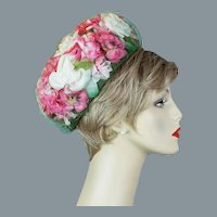 60s Pink and White Floral Pillbox Hat