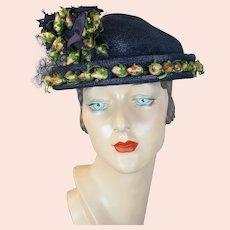 50s Navy Blue Straw Bonnet with Silk Rosebuds