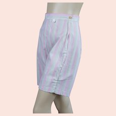 60s Pink and Beige Striped Bermuda Shorts, Deadstock, W27