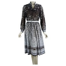 70s Brown and White Abstract Pattern Long Sleeve Dress by Murray Meisner, B42