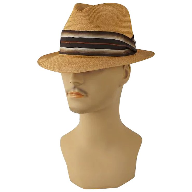 9060809c9a6 Vintage 1960 Fedora Straw Resistol Trilby with Original Hat Box Sz 7    Alley Cats Vintage