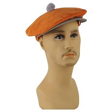 Vintage 1950s Newsboy Cap Orange and Grey Corduroy Snap Brim with Ear Flaps Sz 6 7/8