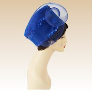 Fab Royal Blue Felt and Sequin Church Lady Hat by Glory II Sz 23