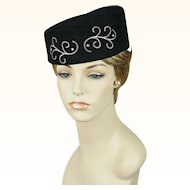 Vintage Hat Black Embellished Asymmetrical Pillbox by Kathy Jeanne Sz 22.5