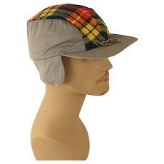 Vintage 1950s Red Plaid and Khaki Workwear Cap with Ear Flaps Sz 7 NOS