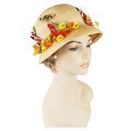 Vintage Natural Straw Bucket Style Flowered Sunhat Sz 22