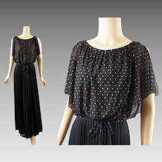 Vintage 1970s Party Gown Black Crystal Pleated Skirt with Gold Dotted Sheer Overlay by Amy Deb Sz 16 B36