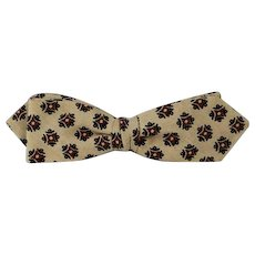 Vintage 1950s Bow Tie Bowtie Beau Brummell Diamond Point Snap On Tan and Brown NOS