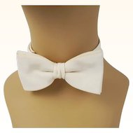 Vintage 1940s Bowtie Ivory Twill Adjustable Wedding Bow Tie