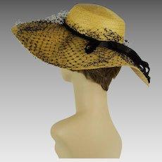 Vintage 1950s Hat Circle Wide Brim Natural Straw with Black Netting Julius Garfinckel Sz 21