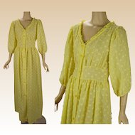 Vintage Bright Yellow Chenille Robe Dress Sz M B38 W32