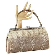 Vintage Handbag Faux Python Snake Vinyl Top Handle Purse
