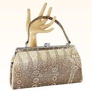 Vintage Handbag Faux Python Snake Vinyl Top Handle Purse