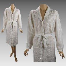 Vintage 1980s Dress White Eyelet Lace Shift Serbin by Marianne B42 W40