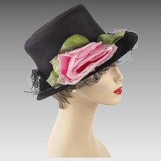 Vintage Hat Black High Crown Brimmed Derby with Pink Silk Rose and Veiling