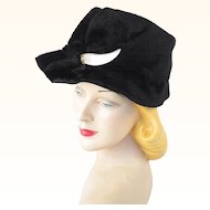 Vintage Hat Black Faux Fur Cloche with Pearl Embellishment by Mr Leonard Sz 22