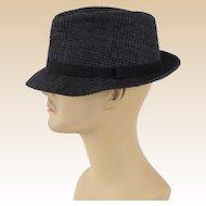 Vintage Grey Wool Plaid Fedora Hat by Dobbs Sz 7 1/4