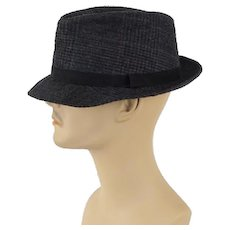 Vintage Grey Wool Plaid Fedora Hat by Dobbs Sz 7 1/4