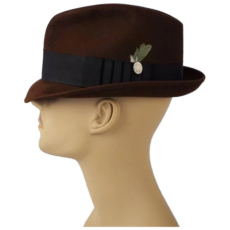 Vintage Dark Brown Trilby Fedora Hat Blue Chip by Champ Sz 7 1 8   Alley  Cats Vintage  a799be4227e