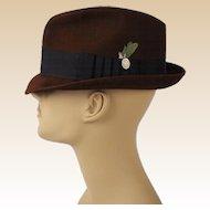 Vintage Dark Brown Trilby Fedora Hat Blue Chip by Champ Sz 7 1/8