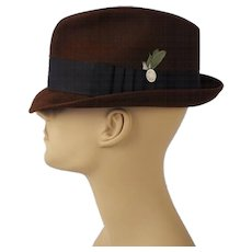 Vintage Dark Brown Trilby Fedora Hat Blue Chip by Champ Sz 7 1/8