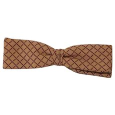 Vintage 1950s Bow Tie Bowtie Batwing Style Snap On Tan and Brown Rayon NWT Original Box