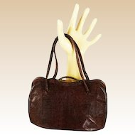 Vintage 1950s Petite Brown Lizard Handbag Purse